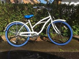 "Girls Beachcomber, beach cruiser style bike, 26"" wheels, 19"" frame, 5 speed"