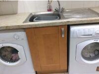 Kitchen cupboards ex utility room Hotpoint washing Machine tumble dryer