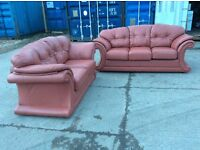 3 SEAT SOFA BED + 2 SEAT HIGH QUALITY LEATHER SOFA