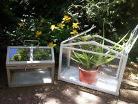 Set of 2 Mini Greenhouse Table Plant Holders Bohemian Decor & Aloe Plant & Garden Lantern