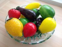 Glass fruit in a glass bowl - REDUCED PRICE