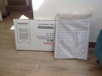 Chrome finish bathroom radiator, flat profile 800mm tall 600mm wide. Unused