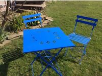 Bistro style metal table and 2 chairs