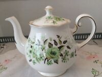 Colclough Sedgley Bone China Tea Pot. Green Floral.