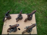 6 Vintage brass blow lamps parafin