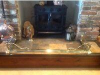 Beautiful old brass fender with ornate corner design