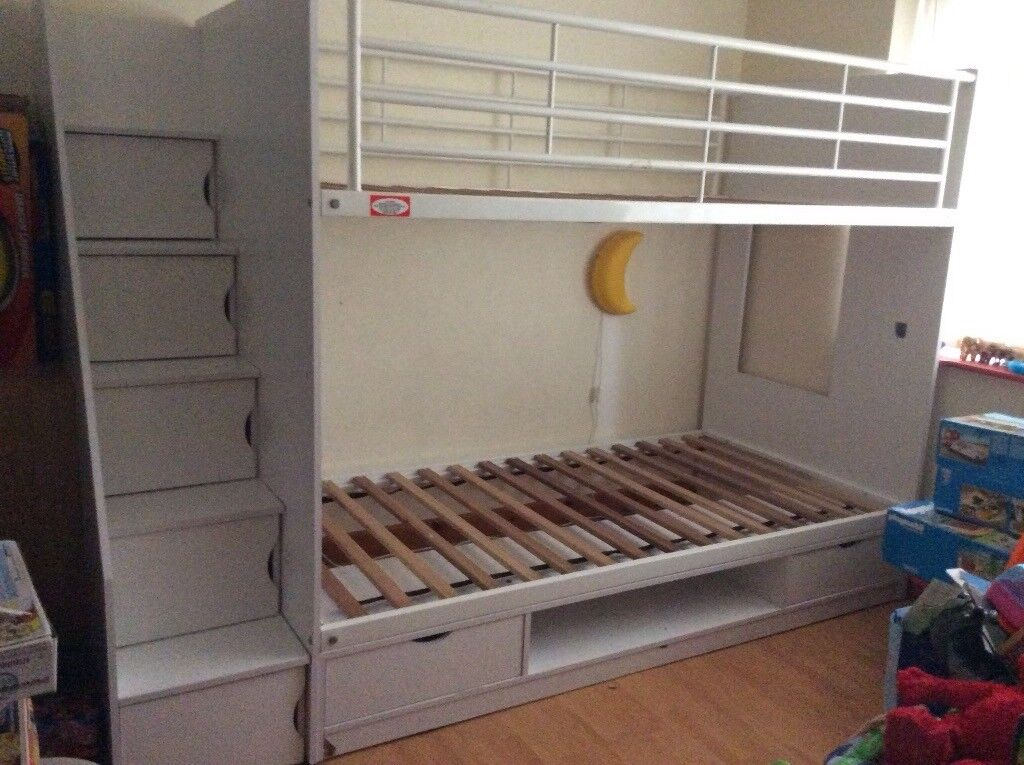 White Wooden Bunk Bed With Storage Within Each Step Light Damage As