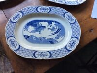 Antique Blue and White Oval meat dish/Platter