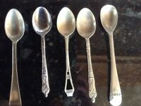 five antique spoons, 2 X apostle tops and 1 X RMSP