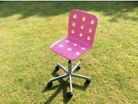 Adjustable Pink Swivel Chair