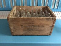 1950s vintage USA American glass soda bottles and vintage wooden advertising crate box