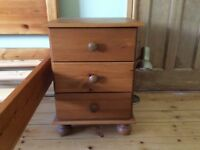 Bedside cabinets, pair, pine