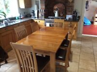 Solid Natural Oak Dining Table and 6 Chairs