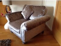 large grey sofa and armchair