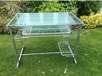 DESK metal frame and glass top.