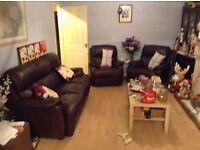 Chocolate leather deep cushioned sofa, chair plus recliner chair set - bargain!!!
