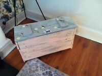 PAINTED SIDE chest coffee table decoupage funky RETRO BLUE shabby chic floral/birds