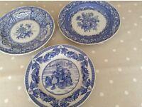 3 Spode plates