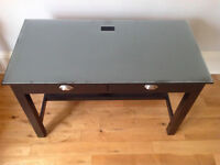 Glass top, real wood desk (black)