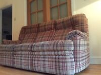 Two year old, multi-coloured tweed Parker Knoll three seater sofa from r sale