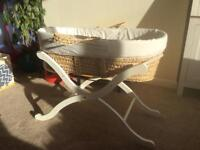 Moses basket and stand with fitted sheets
