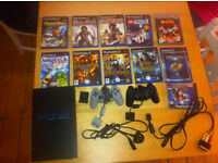 Sony PS2 Console,memory Card,2 Controllers and 11 Games