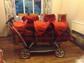 Triple buggy Peg-Perego Triplette- A fully equipped buggy for multiples in immculate condition