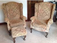 Pair of Fireside chairs with footstool