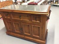 Solid Granite Top Double Sided Kitchen Island on Casters