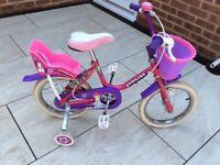86ede80d0b0 Girls 14 inch princess triumph bike with stabilisers