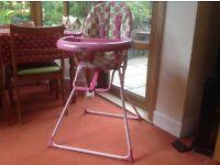 Cute pink/green high chair - wipe clean fabric