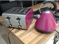 Pink matching kettle & 2 slice toaster