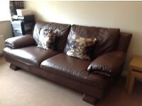 Reids 3 and 2 seater brown leather sofas