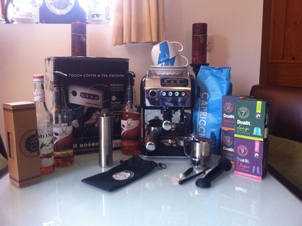 Boxed Excellent Condition, DUALIT espress-auto Coffee and Tea Machine with Extras