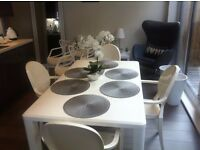 AS BRAND NEW, EX-DISPLAY, White Dining Table 6ft by 4ft ,Will Seat 6 or 4 Guest ,Comes with 4 Chairs
