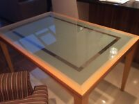 Light oak and glass dining table