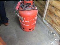 Red propane gas bottle with gun