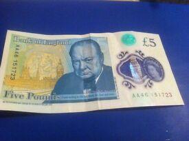 New AA English £5 note