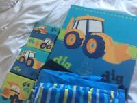 Children's bedding, curtains and canvasses - from Next. Matching 'Digger' theme.