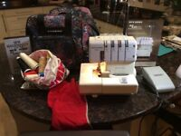 Janome 434D Overlocker - fully operational with threads, instructions and bag.