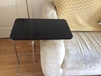 Set of Two Black/Chrome Side Tables/Laptop Tables
