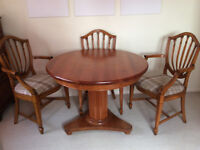 Stylish Round Dining Table & 3 Chairs - 100cm Diameter Table + 2 Armchairs and a Simple Chair - Set