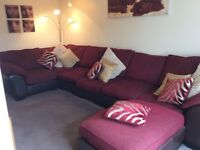 Large Red And Brown Corner Sofa - 6 Seats + Large Footstool + Matching cushions