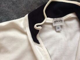 Armani. Mans jacket white with navy collar an cuffs.size 50