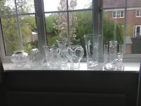 Royal Doulton and others Crystal vases, basket, rose bowl and paperweight