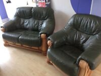 Green leather suite small 2 seat sofa and chair