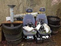 Renault scenic seats, tyres, window, metal frame