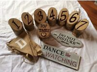 Log wedding table numbers and just married banner with 2 signs