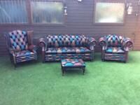 CHESTERFIELD SOFA AND CHAIRS BRAND NEW REAL LEATHER TEL 07519188880