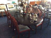Contempomary Harwood Twin Pedestal Dining Table& Chairs